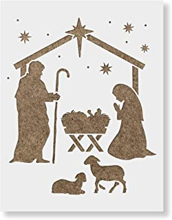 Nativity Manger Stencil - Reusable Christmas Stencil for Painting - Available in Multiple Sizes