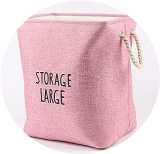 Laundry Storage Basket Foldable Dirty Clothes Organizer Bin Cotton Linen Kid's Toy Big Storage Basket with Handle,Pink