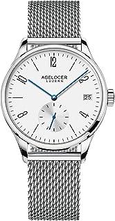 agelocer 艾戈勒 瑞士品牌 日历 透底 防水50米 小三针 自动机械女士手表 简约时尚防水真皮腕表 120(亚马逊自营商品, 由供应商配送)
