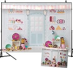 Mehofoto Dessert Shop Theme Backdrop Donut Decoration Ice Cream Girl Birthday Party Background 7X5Ft Vinyl Backdrops Studio Photography Props Birthday Party Decoration
