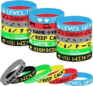 TUPARKA 18 Pcs Video Game Wristbands Rubber Bracelet Game Party Wristbands Supplies for Birthday Party Baby Shower Party Favors, 6 Styles