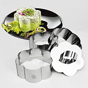 NewlineNY Stainless Steel Dessert Rings (4 Pcs) Flower Shape Molded Appetizers Salads Pastries Mousse Molding Layering Cutter