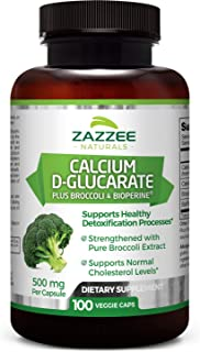 Zazzee Calcium D-Glucarate, 100 Veggie Caps, 500 mg per Capsule, Contains 3 mg BioPerine for Enhanced Absorption, Plus Pure Broccoli Extract, Vegan, Non-GMO and All-Natural