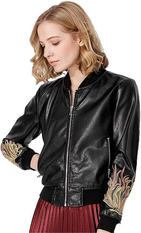 EverNight Women Leather Jacket,Embroidery Asymmetric Biker Jacket,Ribbed Hem Stand Collar Short Motorcycle Coat,Black,S