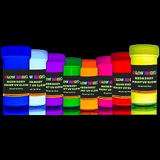 GLOW MAGIC Neon UV Body Paint Set – 8 x 0.7 fl oz – Black Light Make Up – Bodypainting Neonn Blacklight Bodypaint Face & Finger Paints