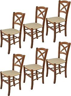 Tommychairs - Set 6 sillas Cross para Cocina y Comedor Estructura en Madera de Haya Color Nuez Claro y Asiento tapizado e...