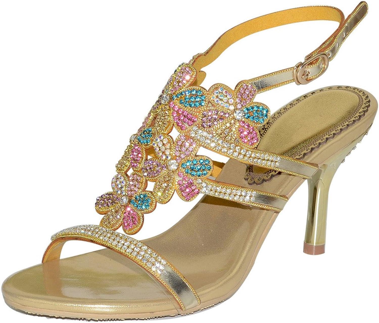 LizForm Open Toe Floral Evening Sandal High Heel Ankle Strap Wedding Heeled Sandal