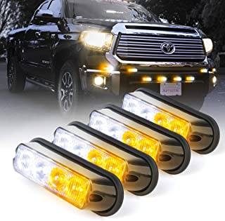 Xprite White & Amber Yellow 4 LED 4 Watt Emergency Vehicle Waterproof Surface Mount Deck Dash Grille Strobe Light Warning Police Light Head with Clear Lens - 4 Pack
