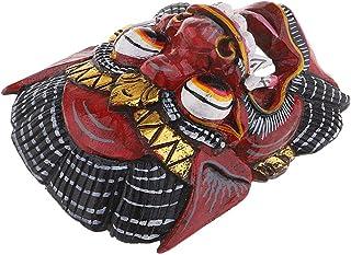 Baoblaze Máscara Facial de Madera Tallada a Mano Colgnate Artesanal de Pared Regalo para Colección -