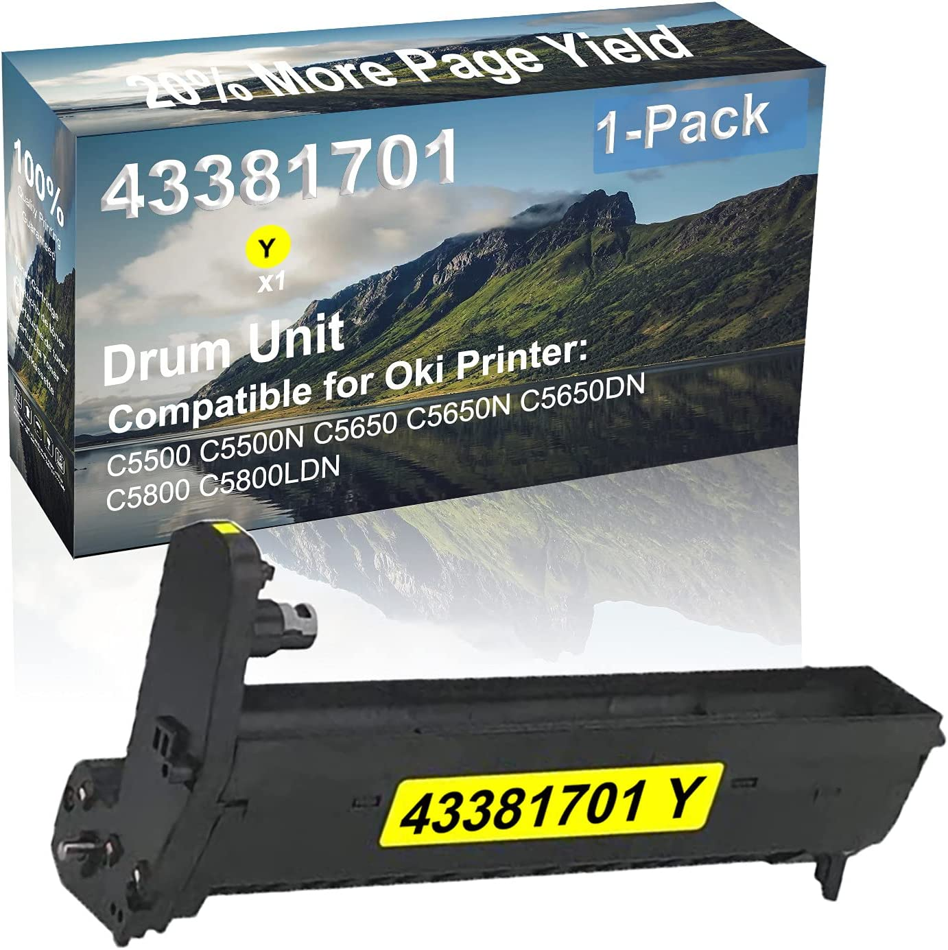 1-Pack (Yellow) Compatible High Yield 43381701 Drum Unit Used for Oki C5800 C5800LDNDW Printer