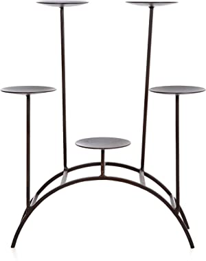 """Hosley's 17"""" High Iron 5 Pillar Candleholder. Farmhouse Hand Made By Artisans. Excellent for the Tabletop, Fireplace, or Den. O8"""