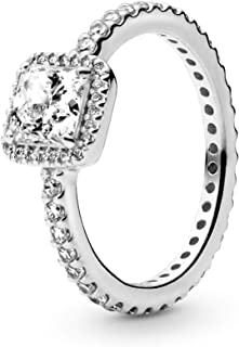 Jewelry - Square Sparkle Halo Ring for Women in Pandora Rose with Clear Cubic Zirconia