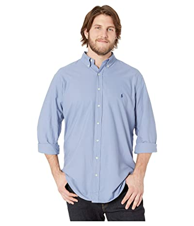 Polo Ralph Lauren Big & Tall Big Tall Solid Garment Dyed Oxford Long Sleeve Classic Fit Sports Shirt (Bastille Blue) Men