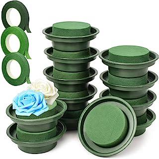 Woohome 15 PCS Kit d'Arrangement de Fleurs Bricolage, 12 PCS Vert Mousse Humide Floral, 3 PCS Rubans Floraux, Florale en M...