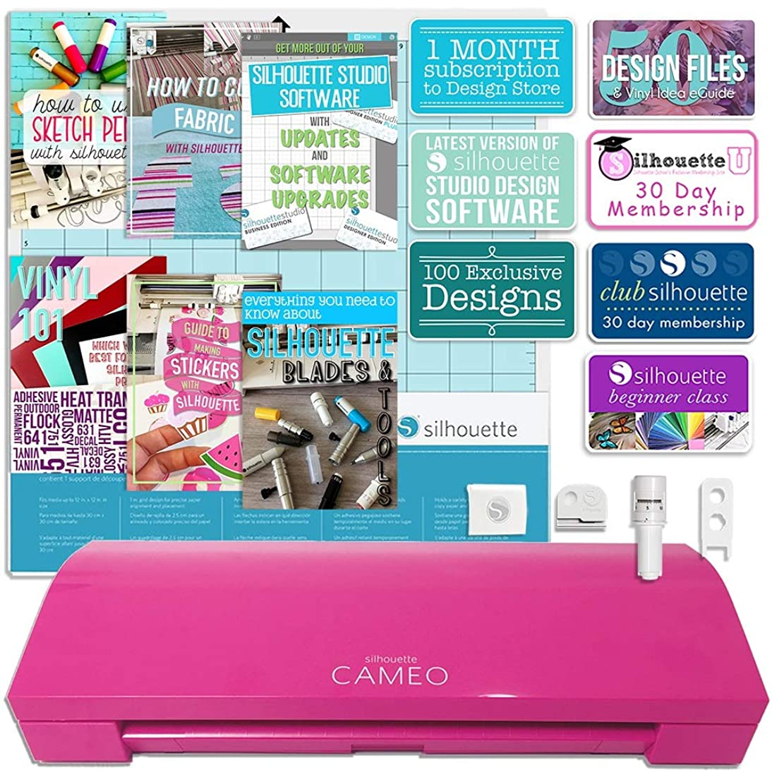 Silhouette America Cameo 3 Glitter Pink Edition with with Bluetooth, Auto Adjusting Blade, Vinyl Trimmer, 12x12 Mat, 100 Designs, 110v-220v Power Cord Warranty