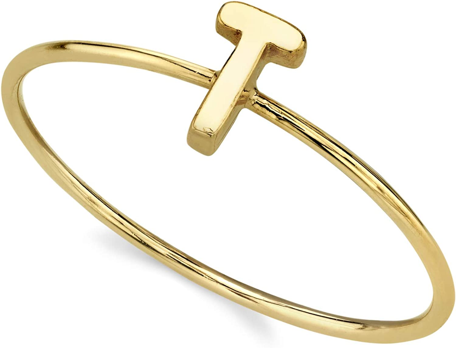 1928 Jewelry 14K Gold Dipped Initial Monogram Letter Ring Size 7 (T)