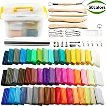 Polymer Clay, POZEAN Modeling Clay Kit 50 Colors DIY Oven Bake Clay with Sculpting Tools, Accessories and Portable Storage Box, Perfect Gift for Kids/Adults/Beginners