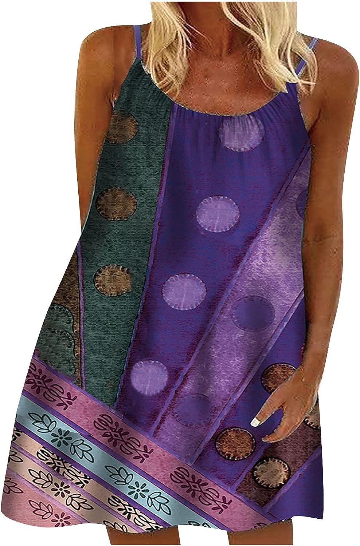 VICTSM Summer Dress for Women Casual Beach Dress Women O-Neck Casual Printing Slim Sling Dress Loose Sleeveless Short Dress