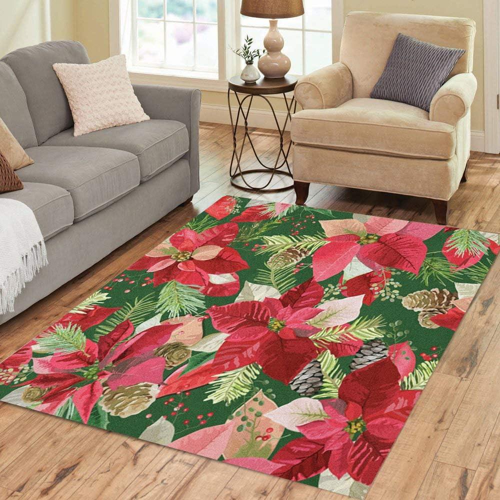 Pinbeam Area Rug Overseas Selling parallel import regular item Branch Christmas Winter Poinsettia Flowers Flor