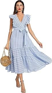 Women Wrap Dress Fit Flare Ruffle Sleeveless Summer Retro Sundress
