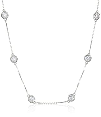 Amazon Collection Platinum or Gold Plated Sterling Silver Station Necklace made with Swarovski Zirconia