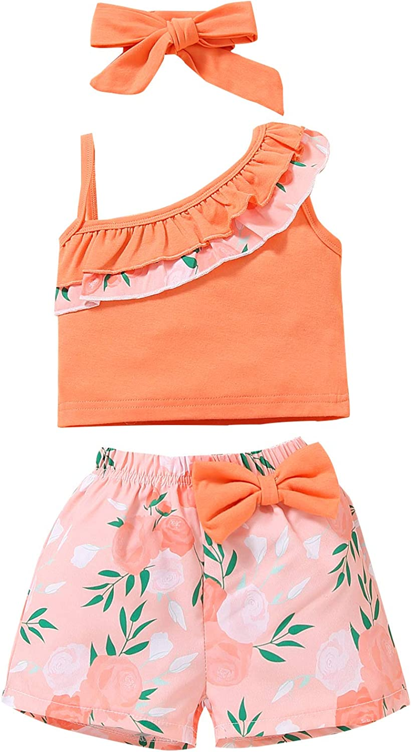 Toddler Baby Girl Clothes Outfits Sleeveless Oblique Shoulder Tops Floral Shorts Little Girl Summer Clothes Set