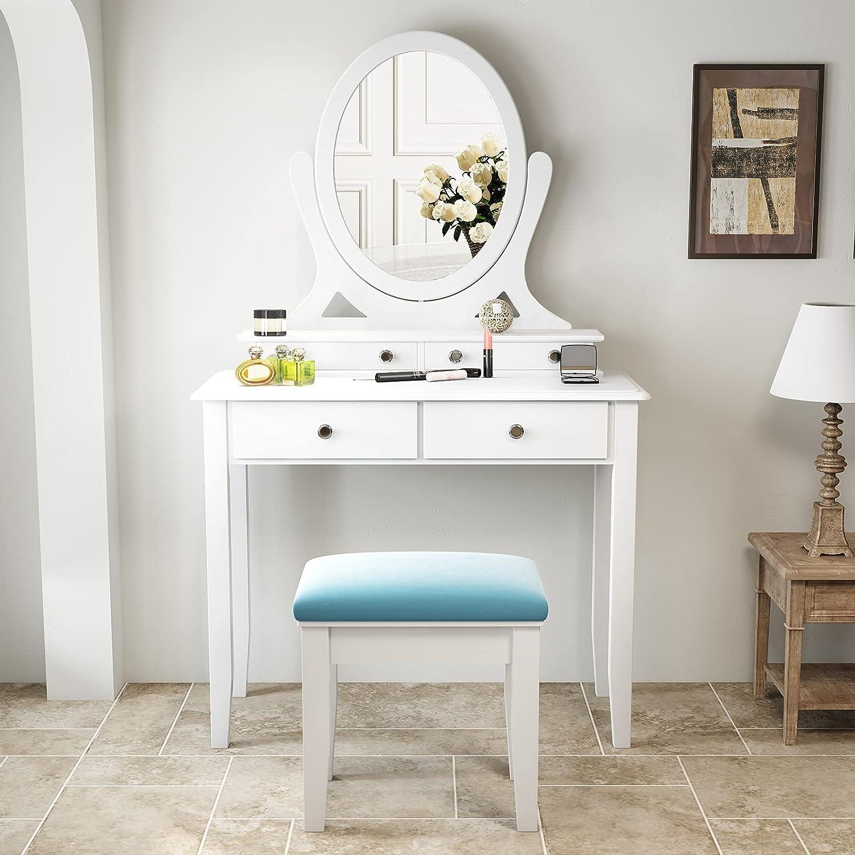 OFFicial SHA CERLIN Vanity Set Makeup 360° with Desk Outstanding Rotating