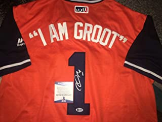 Carlos Correa Autographed Signed Houston Astros Jersey Nickname I Am Groot Star Beckett - Authentic Memorabilia