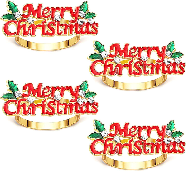 6 piezas Hebilla de servilleta navideña Servilletero de Navidad con hojas de baya y pedrería Hebillas de metal para servilleteros Servilletas Botón Servilleteros oro para decoración de mesa de comedor