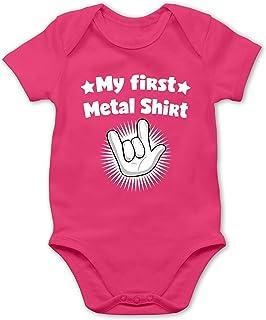Shirtracer Sprüche Baby - My First Metal Shirt mit Rock Hand weiß - Baby Body Kurzarm für Jungen und Mädchen