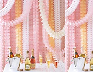 Life Glow Hanging Garland Four-Leaf Tissue Paper Flower Garland Reusable Party Streamers for Party Wedding Decorations, 11.81 Feet/3.6M Each, Pack of 6-Pink