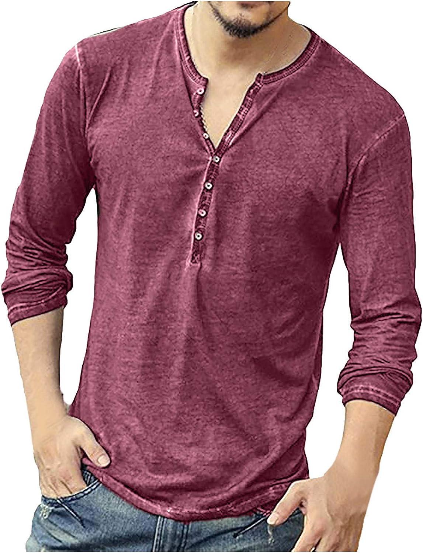 Moxiu Mens Casual Slim Fit Basic Henley Long Sleeve Fashion Summer V Neck T-Shirt
