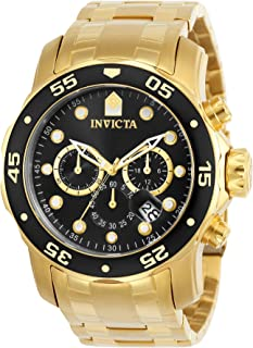 Men's Pro Diver Scuba 48mm Gold Tone Stainless Steel Chronograph Quartz Watch, Gold/Black (Model:...