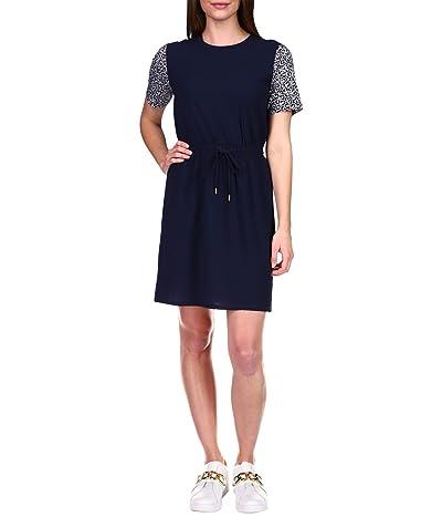 MICHAEL Michael Kors Graphic Logo Combo T-Dress (Midnight Blue/White) Women
