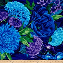 Timeless Treasures Midnight Large Floral Fabric by The Yard