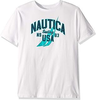 Nautica Men's Short Sleeve 100% Cotton Classic Logo Series Graphic Tee, Bright White/Blue, Medium