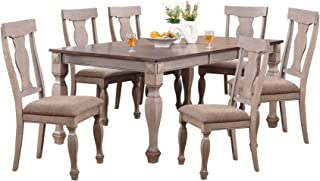 Kings Brand Almon 2-Tone Brown Wood 7-Piece Rectangle Dining Room Set, Table & 6 Chairs