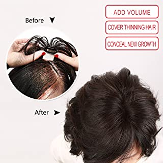 Igennki Hand Tied Mono Top Hair Pieces Human Hair Topper Clip in Hair Wiglets for Women Thinning Hair,Hair Loss (Base 1.6