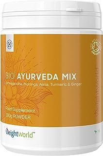 Bio Ayurveda Mix | Ashwagandha en Polvo | Vitaminas Con Jengibre, Curcuma, Moringa y Amla | Suplementos Alimenticios a base de Plantas | Para salud y cuidado personal | 100% Vegano y Orgánico |