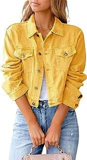 Women Denim Jacket Solid Colour Long Sleeve Lapel Collar Buttons Closure Cropped Trucker Jacket Vintage Jean Blouson Coat