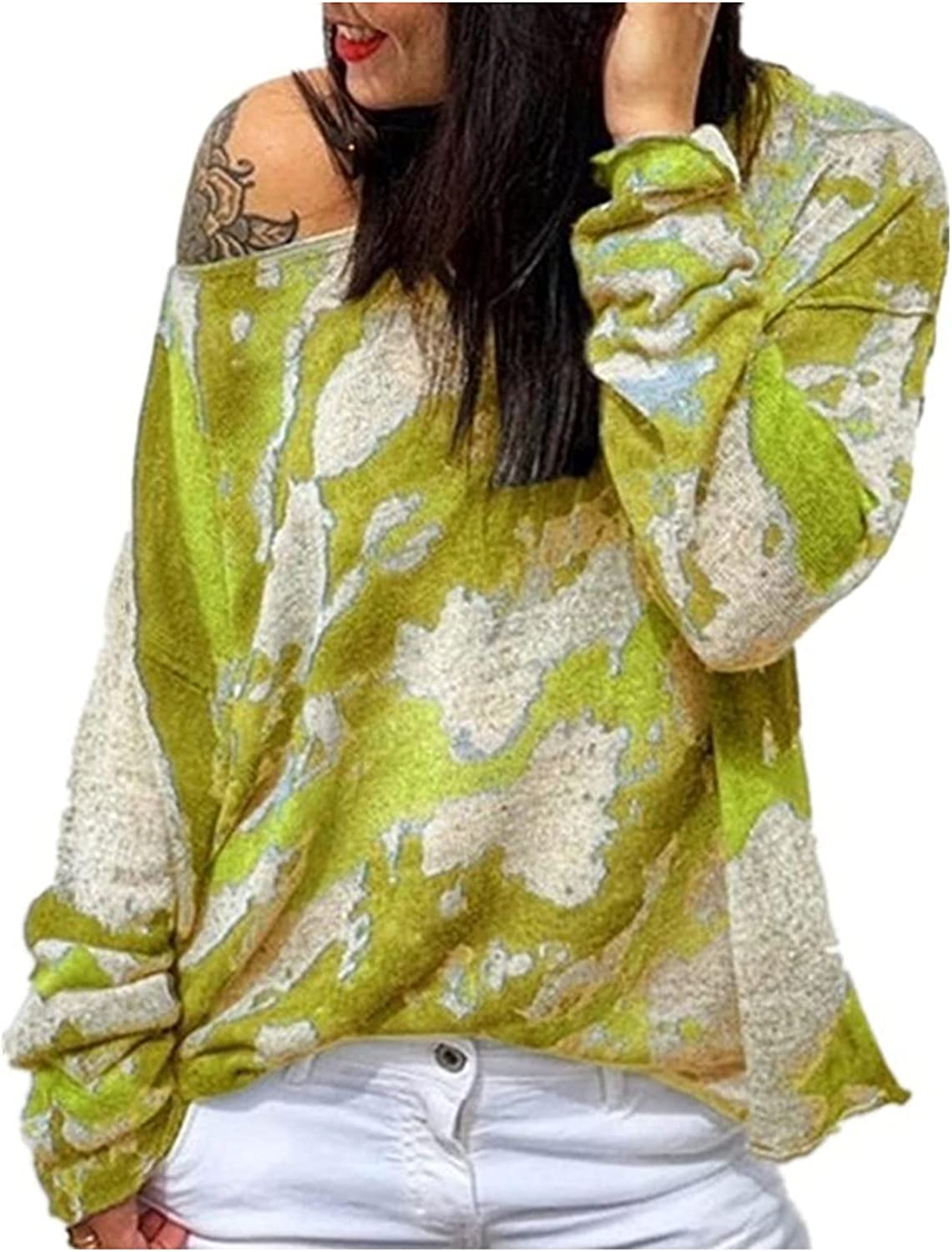 VonVonCo Pullover Sweaters for Women Round Neck Loose Long Sleeve Shirt Camouflage Pullover Casual Sweater