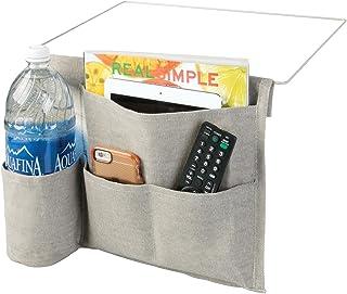 mDesign Bedside Storage Organizer Caddy Pocket - Slim Space Saving Design, 4 Pockets - Durable Heavy Weight Cotton Canvas...