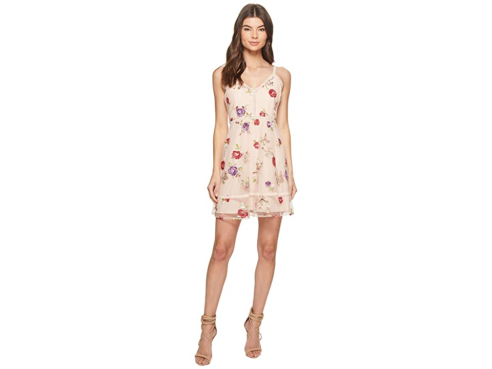 BB Dakota Gemma Embroidered Fit and Flare Dress (Pink Lemonade) Women