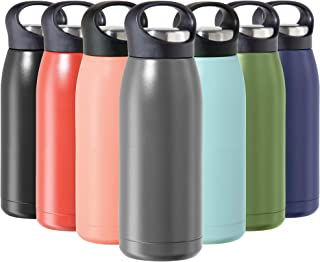 OGGI Freestyle Stainless Steel Insulated Water Bottle- Double Wall Vacuum Insulated, Travel Thermos, 17oz(500ml), Charcoal