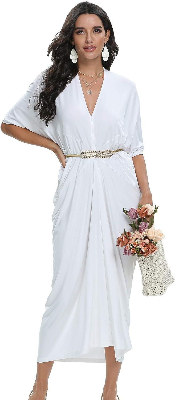 LQBZ Direct stock discount Women's Modest Batwing Sleeve Dresse White Maxi Work Finally resale start Casual
