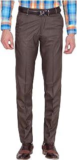 American-Elm Men's Dark Brown Cotton Blend Formal Trouser