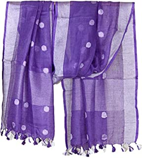 Women's Designer Linen Dupatta Purple Long Stole Indian Line Wrap Neck Scarves Chunni