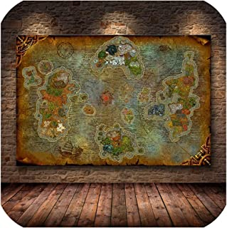 Unframed The Poster Decoration Painting of World of Warcraft 8.0 Map on HD Canvas Wall Pictures for Living Room,60X40CM,1020743