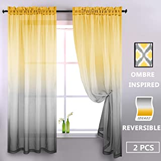 Reversible Sunshine Faux Linen Textured Semi Sheer Curtains for Bedroom Kids Boys Room Baby Girls Nursery Living Room 52 x 84 Inch Length Set of 2 Window Curtain Panel Pair Bright Yellow and Grey Gray