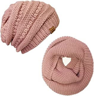 ALLYDREW Thick Knitted Winter Infinity Circle Scarf and Slouchy Beanie Set